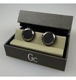GUESS Guess Collection Edelstahl Manschettenknöpfe Rund in der Farbe Schwarz / Silber