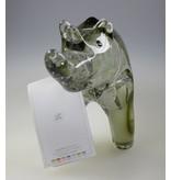 """VETRO - Glaskunst Skulptur """"Nashorn""""  aus Glas · grau Höhe: 15 cm Breite: 25 cm"""