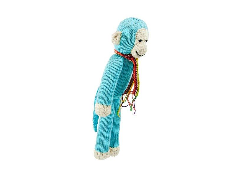 Kenana Stofftiere Affe in türkis - Kenana Stofftiere - Handmade - circa 30 cm aus Bio-Baumwolle