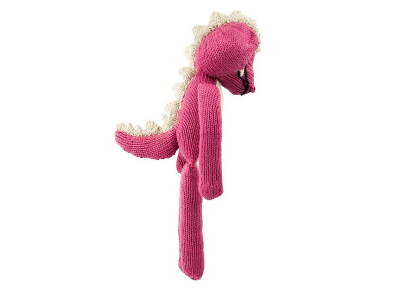 Kenana Stofftiere Krokodil in Pink, 30 cm Handarbeit Kenana Stofftiere, Püschtiere für Kinder und Erwachsene