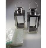 ART FROM ITALY 2 kleine Laternen Kerzenhalter aus Metall in der Farbe silber und grösse 9,8 x 10,5 x 21,5 cm H
