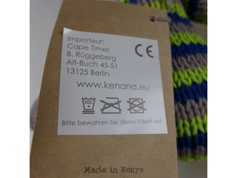 Kenana Stofftiere Baumwoll-Hase Blau & Grün - Handmade - Stofftier