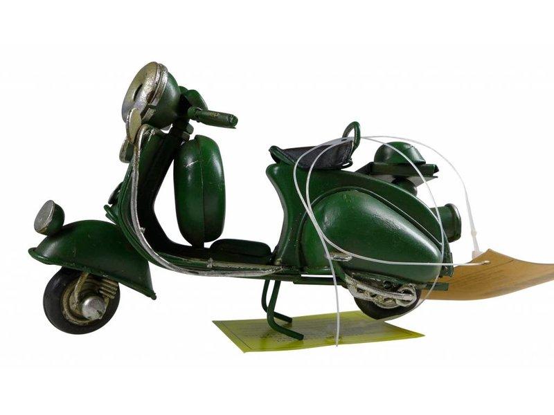 Reinhart Faelens Kunstgewerbe Blech-Mini Motorroller in dunkelgrün, 11,5 x 5,5 x 7,5 cm