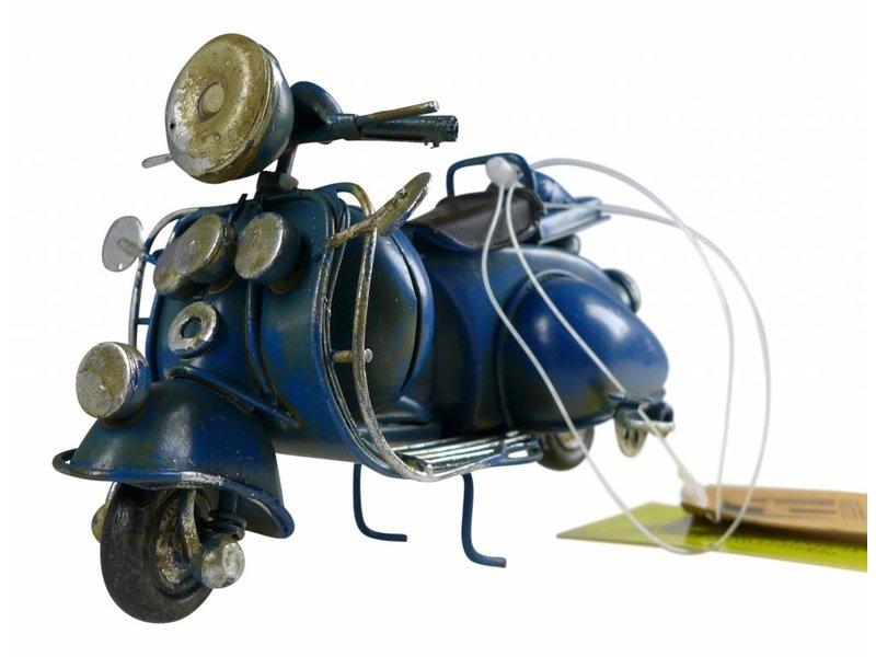 Reinhart Faelens Kunstgewerbe Blech-Mini Motorroller in blau, 11,5 x 5,5 x 7,5 cm