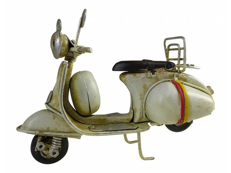 Reinhart Faelens Kunstgewerbe Blech-Mini Motorroller in weiß, 11,5 x 5,5 x 7,5 cm