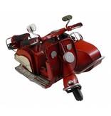 Reinhart Faelens Kunstgewerbe Blech-Motorroller, Beiwagen, rot 18 x 13 x 10 cm