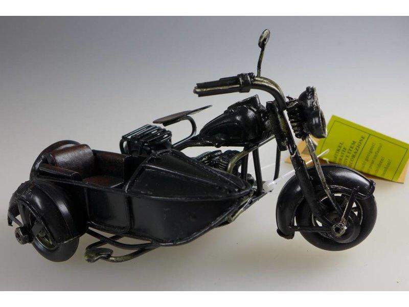 Reinhart Faelens Kunstgewerbe Blech-Motorrad mit Beiwagen, 12 x 9 x 6 cm