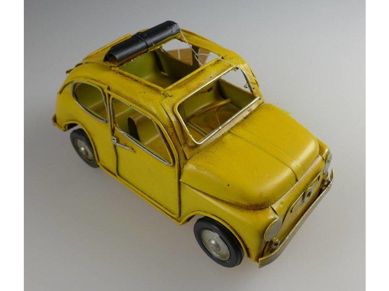 Reinhart Faelens Kunstgewerbe Blech-Oldtimer, offenes Dach, gelb, 16 x 8 x 8 cm