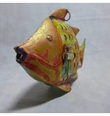 JONES-ANTIQUES Fisch aus Eisen im golden und bunten Antikfinish handgearbeitet und von Hand bemalt