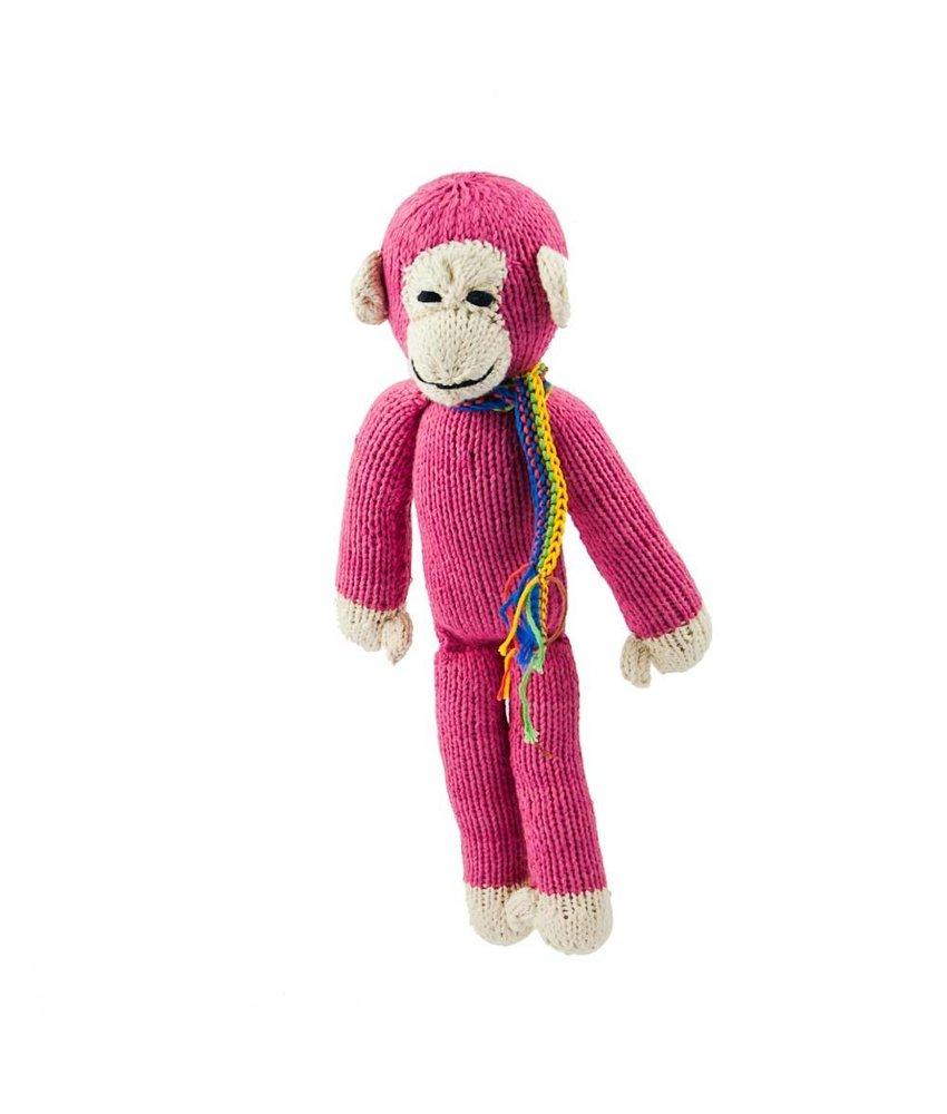 Affe in pink 35 cm aus Biobaumwolle