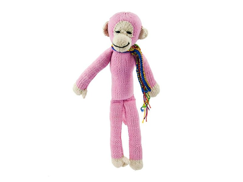 Kenana Stofftiere Affe in rosa - Kenana Stofftiere - Handmade - circa 35 cm aus Baumwolle
