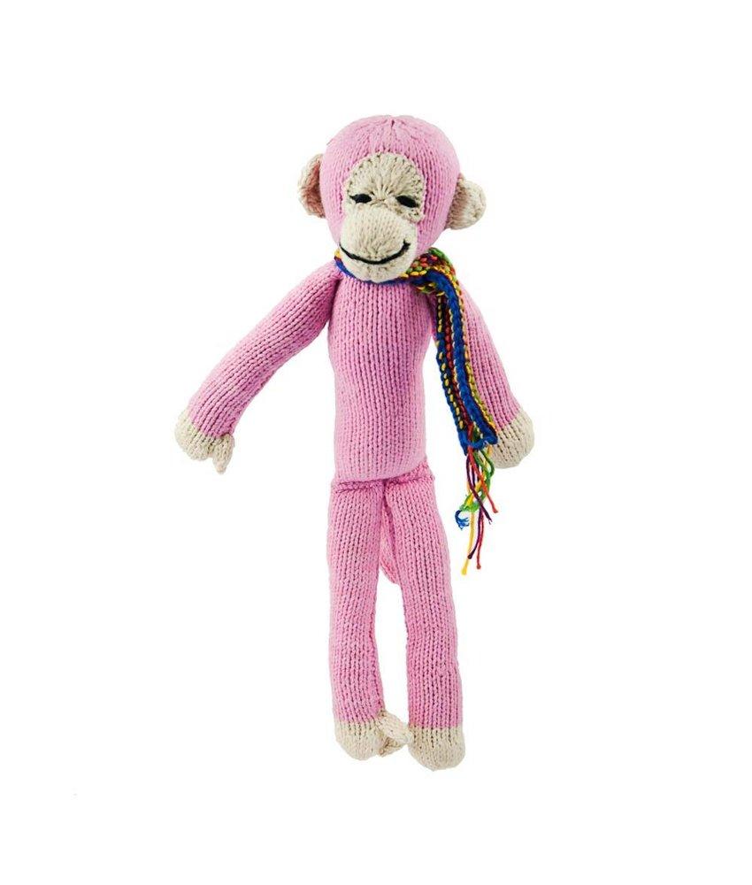 Affe in rosa 35 cm aus Biobaumwolle