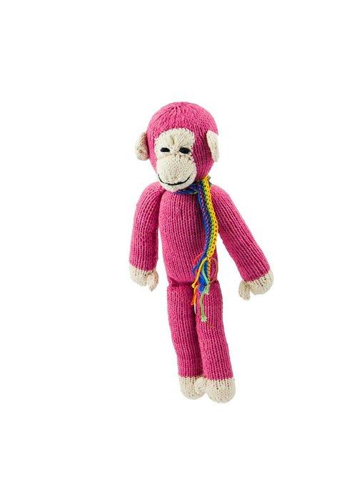 Affe in pink 26 cm aus Biobaumwolle