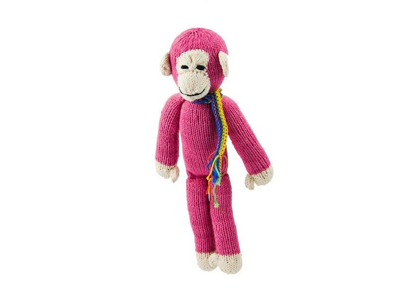 Kenana Stofftiere Affe in pink - Kenana Stofftiere - Handmade - circa 26 cm aus Baumwolle