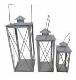 ART FROM ITALY 3er Laternen Set für Garten, Terrasse oder Wohnung in Metall, Farbe antik weiß