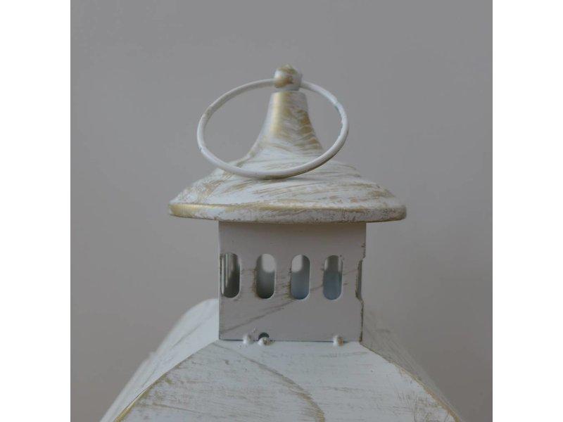 ART FROM ITALY Laternenset aus weißem Metall mit goldenen Reflexen und Stein für Garten, Terrasse oder Wohnung in Metal, Laterne