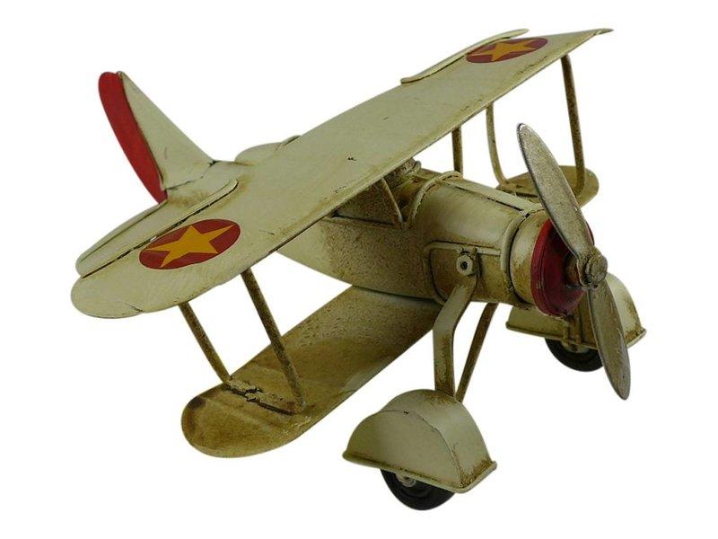Reinhart Faelens Kunstgewerbe Blech Flugzeug creme in 15,5x16x16,5 cm