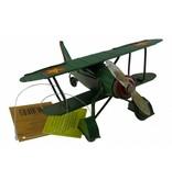 Reinhart Faelens Kunstgewerbe Blech Flugzeug grün in 15,5x16x16,5 cm