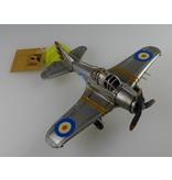 Reinhart Faelens Kunstgewerbe Blech Flugzeug silber, Passagierflugzeug in 18x22x8cm