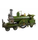 Reinhart Faelens Kunstgewerbe Blech-Lokomotive, 28 x 9 x 15 cm, grün, das optimale Geschenk für Lokomotiven, Zug, Deutsche Bahn Liebhaber.