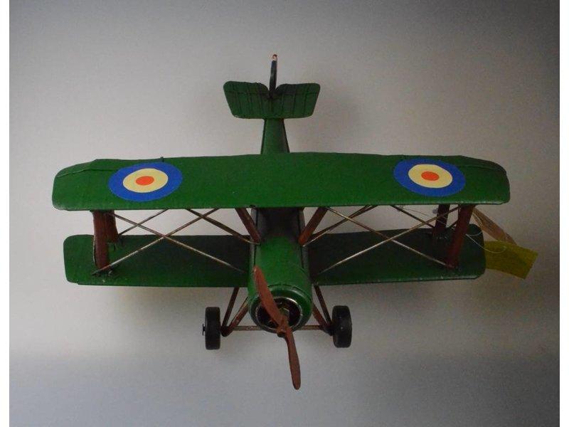 Reinhart Faelens Kunstgewerbe Blech Flugzeug grün in XL in 32cm x 32cm x 14 cm