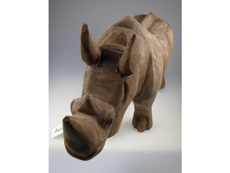 Light & Living Nashorn aus Holz, ORNAMENT in 52X18X27 CM RHINO