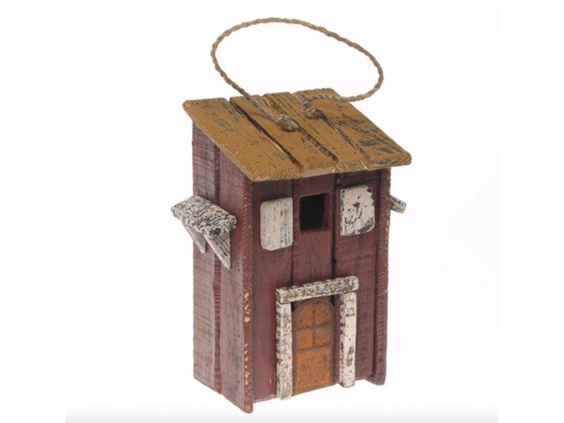 """Reinhart Faelens Kunstgewerbe Holzvogelhaus """"Stadtmauer"""", antique rot,  Vogelhaus, Nistkasten, Nistkästen. 1 Flugloch, ca. 19 x 13 x 28,5 cm"""