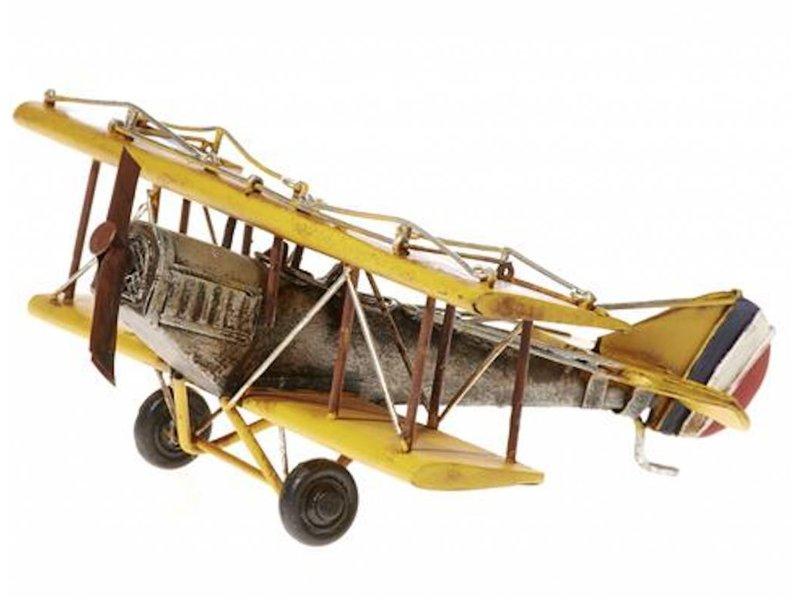 Reinhart Faelens Kunstgewerbe Blech-Flugzeug Doppeldecker gelb, 18 x 21 x 8 cm