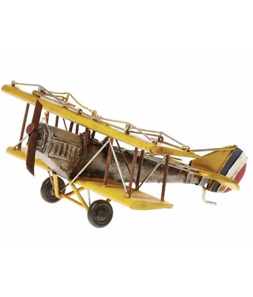 Blech Flugzeug gelb