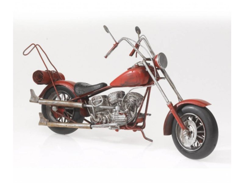 Reinhart Faelens Kunstgewerbe Nostalgie Blechmodell Oldtimer Motorrad und Chopper, rot, in 28 x 9 x 16 cm