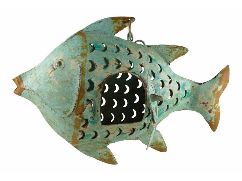 JONES-ANTIQUES Fisch aus Eisen im helltürkis Antikfinish handgearbeitet und von Hand bemalt
