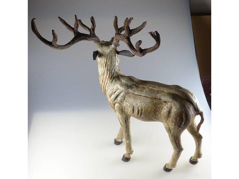 JONES-ANTIQUES Stehender Hirsch aus Pappmaché, Handarbeit, stabil, wunderschön in B/T/H in cm 40 x 16 x 50