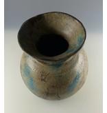 JONES-ANTIQUES Alte Holzvase in Pastellfarbe blau/grün - Unikate - Vase -Deko für Trockenblumen