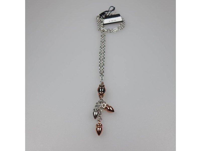 Zoppini Zoppini Damen Kette Q1304_0006 Edelstahl Silber/Roségold/ schwarz, 48 cm Länge