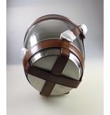 COFUR Colonial furniture & design Sektkühler in Chrome mit brauen hochwertigen Leder verziert.  Durchmesser 23 cm, Höhe 23 cm