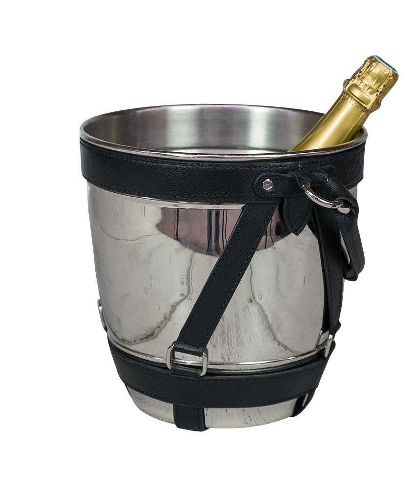 Wein- & Sektkühler Nickel/Leder