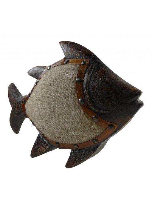 Fisch aus Holz mit Stoffbezug