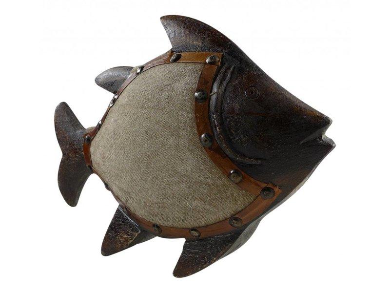 Barracuda Welt Importe Dekofisch aus Holz mit Stoffbezug, 27 cm lang  x 20 cm hoch