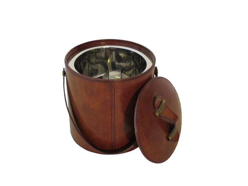 COFUR Colonial furniture & design Eiswürfelkühler mit brauen Leder bezogen inkl. Eiszange mit Leder bezogen, Höhe 18 cm Breite 18 cm
