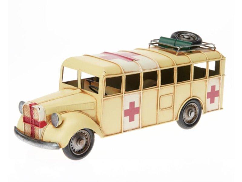 Reinhart Faelens Kunstgewerbe Blech-Rettungswagen, ca. 35,5 x 12 x 15 cm
