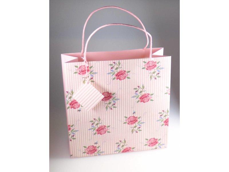 Geschenktüte L – ROSE & BEE STRIPE in 32x32x12 cm