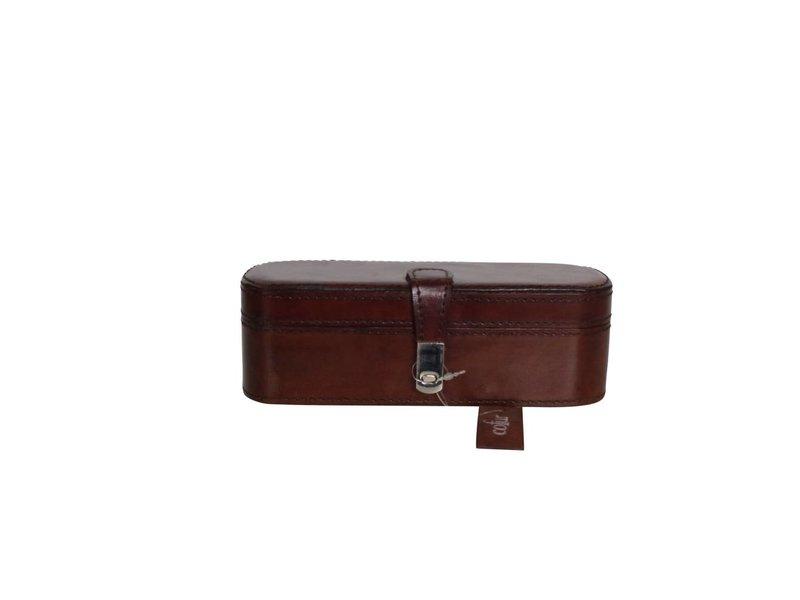 COFUR Colonial furniture & design Schmuckkiste klein braun, echtes Leder in L21xB7xH7 - Copy