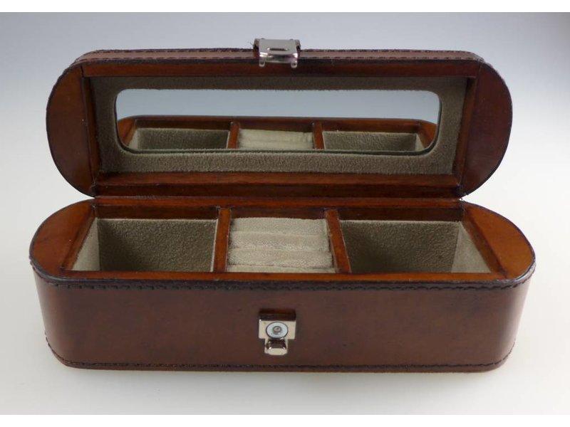 COFUR Colonial furniture & design Schmuckkiste klein braun, echtes Leder in L21xB7xH7