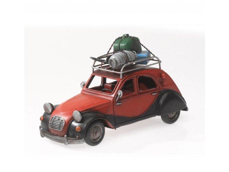 """Reinhart Faelens Kunstgewerbe Blech-Auto """"France, Ente, 2CV"""", rot/schwarz, 28 x 11 x 16 cm"""