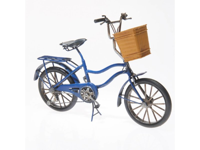 Reinhart Faelens Kunstgewerbe Blech-Fahrrad mit Korb, ca. 27 x 11 x 21 cm - Nostalgie Blechmodell Oldtimer