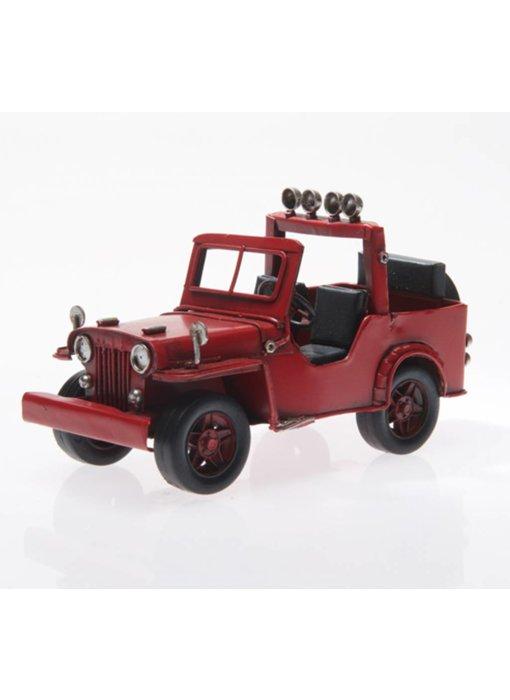 Blech-Jeep, rot, ca. 16,5 x 8 x 9,5 cm