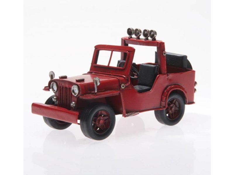 Reinhart Faelens Kunstgewerbe Blech-Jeep, rot, ca. 16,5 x 8 x 9,5 cm