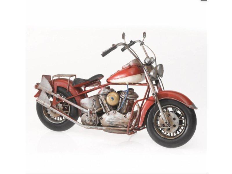 """Reinhart Faelens Kunstgewerbe Blech-Motorrad """"US-Style"""", rot/weiß, 38 x 14 x 24 cm"""