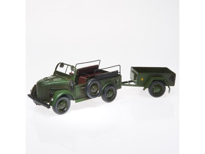 Reinhart Faelens Kunstgewerbe Kübelwagen, dunkelgrün mit Anhänger ca. 36 x 11 x 10 cm