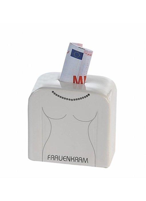"""Spardose """"Frauenkram""""  Keramik . weiß / grau . glasiert mit Schriftzug """"FRAUENKRAM"""""""